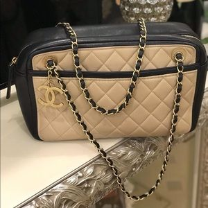 Chanel Two tones color Bag with Cc Metal Logo